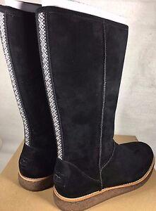 Ugg Rue Knee High Suede Zipper Boots 1012546 Black Women S Suede Shearling Ebay