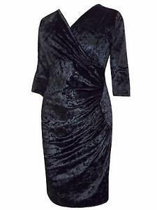 EVANS-GRACE-LUXURIOUS-BLACK-VELVET-FAUX-WRAP-DRESS-10-LYCRA-18-22-24-26