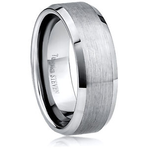 Men-039-s-8mm-Wide-Tungsten-Carbide-Band-Comfort-Fit-Ring-Flat-Brush-Center-TCR030