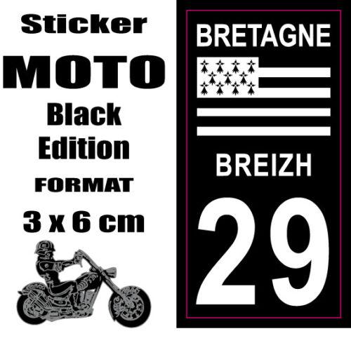 Sticker style Immatriculation Plaque MOTO black NOIR Département BRETAGNE 29
