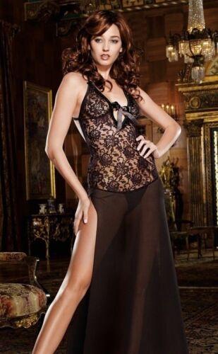 Plus Black Lace Lingerie 130CM Night Gown Long Babydoll S M L XL 2X 3X 4X 5X 6X