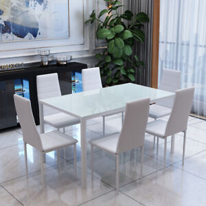 Details About Rectangle Gl Dining Table And Faux Leather Chair White 6 Chairs Furniture Set