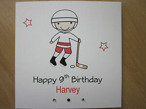 Image Is Loading Personalised Handmade Ice Hockey Birthday Card 9th 10th