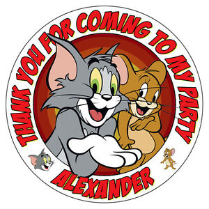 Personalised Tom and Jerry Stickers Birthday Party Thank You Cones