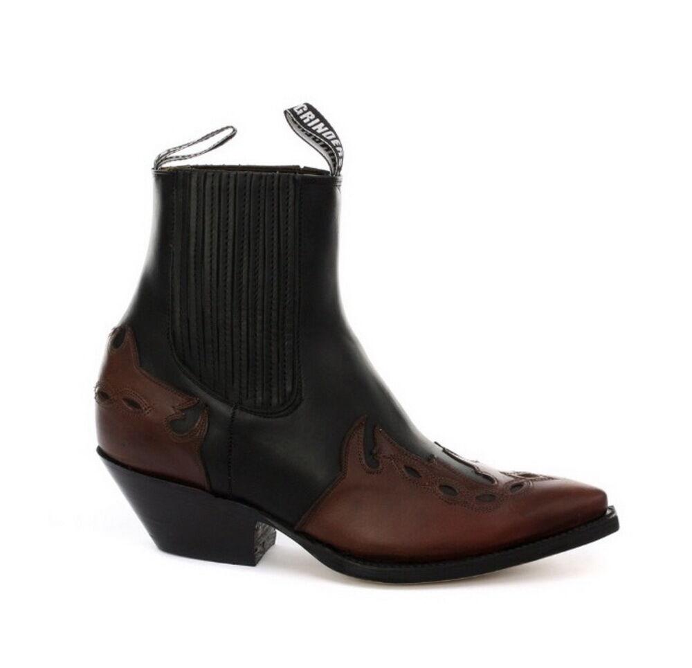 Grinders Arizona Lo Unisex Leather Cuban Heel Cowboy Boots Black/Burgundy