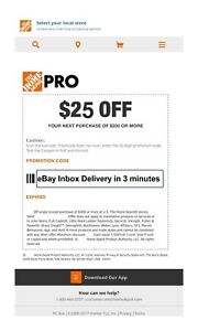 ONE 1X Home Depot $25 off $200Coupon In-Store Only--Very-FAS