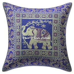 Decorative-Brocade-Throw-Pillows-Ink-Blue-40x40-cm-Elephant-Cushion-Cover
