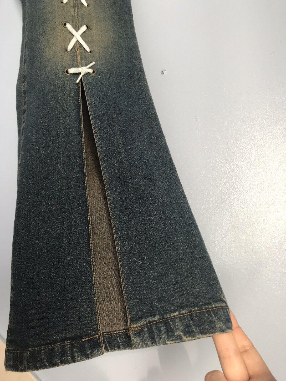 Agenda Vintage 90s Y2K Lace Up Corset High Waist Jeans Boho Hippie Festival 12
