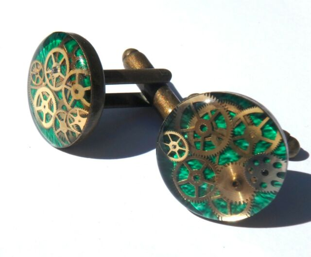 Victorian StyleRound 16mm Green and Bronze Engineer Cufflinks w/ cogs and gears