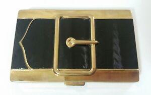 VINTAGE 1950s COTY BLACK ENAMELED BUCKLE SHAPED VANITY COMPACT.