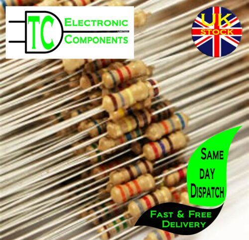 sold in packs of 20 1//4W 0.25W Carbon Film Resistors 5/% many values available
