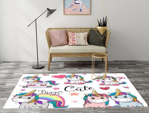 Cute Cartoon Unicorn Kids Play Area Rugs Home Living Room Carpet Floor Soft Mat