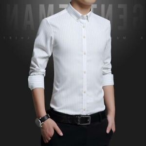 Slim-Fit-Long-Sleeve-Fashion-Business-Shirt-Men-039-s-Dress-Shirts-Luxury-Tops