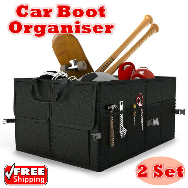2x NEW COLLAPSIBLE CAR BOOT ORGANISER FOLDABLE SHOPPING TIDY CAR BOOT STORAGE