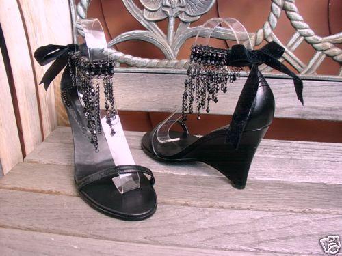Keilabsatz Sandale 41 Pumps v. PUR GLAMOUR schwarz Gr. 41 Sandale Wedges schwarz Sandales f785a2