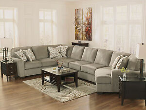 Image Is Loading Large Gray Fabric Sectional Sofa Couch Cuddler 4pcs