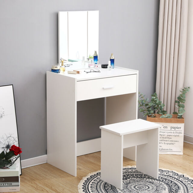 Modern White Dressing Table Makeup, Vanity Dressing Table With Light Up Mirror