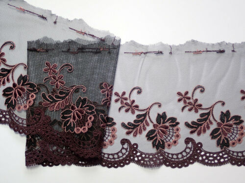 """Black Berry Colours Embroidered Tulle Lace Trim 5.75/""""//15cm TOP SELLER 3 METRES"""