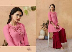 651e5d52570 Image is loading Women-Indian-Light-Pink-Embroidered-Rayon-Kurti-Top-