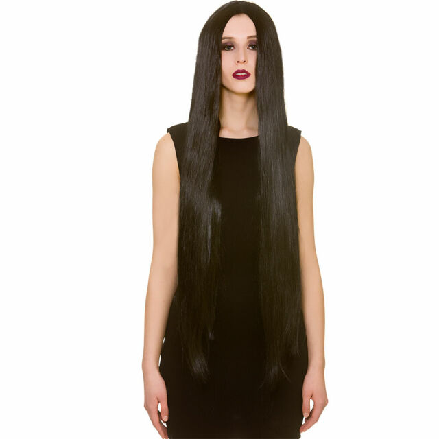 Ladies Halloween Extra Long Black Wig