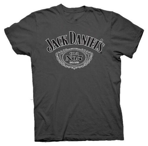 Jack Daniels Men/'s JD Cartouche Tee T-shirt Top Whiskey Liquor Bourbon Charcoal