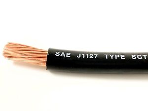 2 Gauge COPPER Battery Cable BLACK SAE J1127 SGT Automotive Power Wire 200/' FT