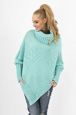 Women's Thick Heavy Poncho Jersey Turtleneck Warm Jumper Sweater Size 8-14 FAS09
