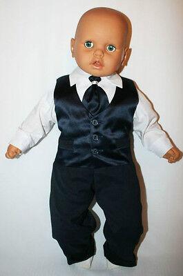 Baby Boy Battesimo Pageboy Party Formale Smart Vestito Vestito Gilet Blu Scuro Satinato- Stile (In) Alla Moda;
