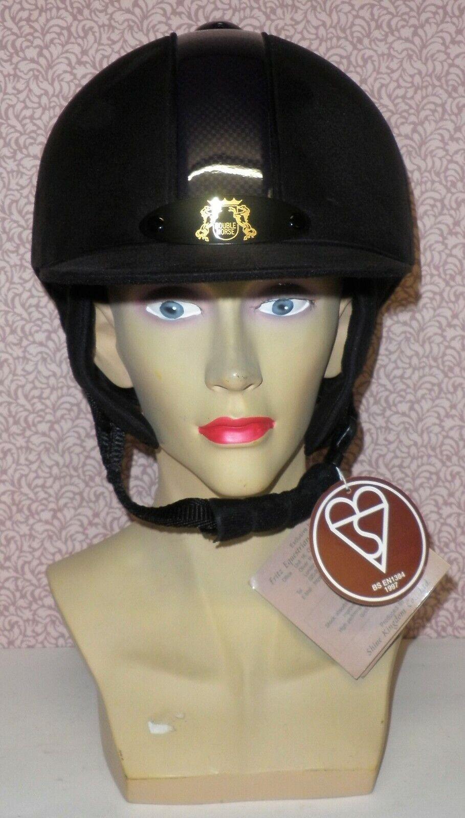 Nero Cappello Da Equitazione picco fisso con Striscia Viola da Double Horse Taglia 53cm (standard)