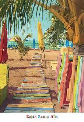 BEACH ART PRINT Painting on a Smile - Robin Renee Hix 26x18 Coastal Ocean Poster