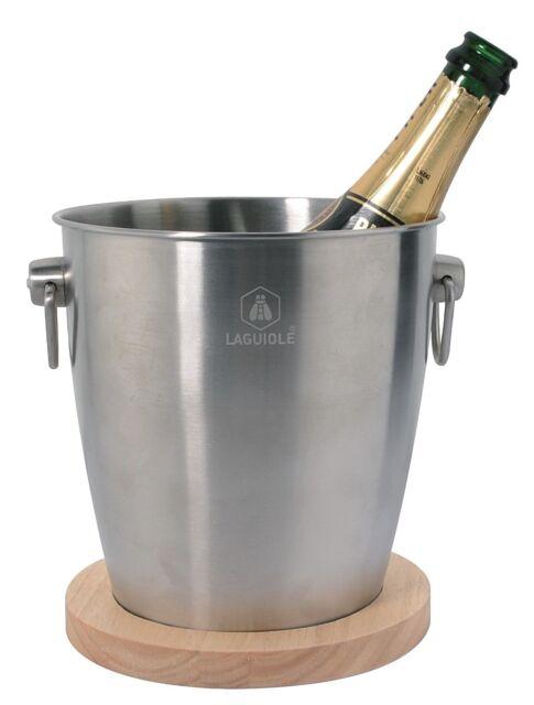 Laguiole Champagner Sektkübel  Weinkühler mit Holzsockel Edelstahl Kühler NEU!