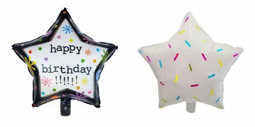 HAPPY BIRTHDAY STAR SHAPE HELIUM BALLOON 45cm PARTY FOIL DECORATION BRIGHT UK