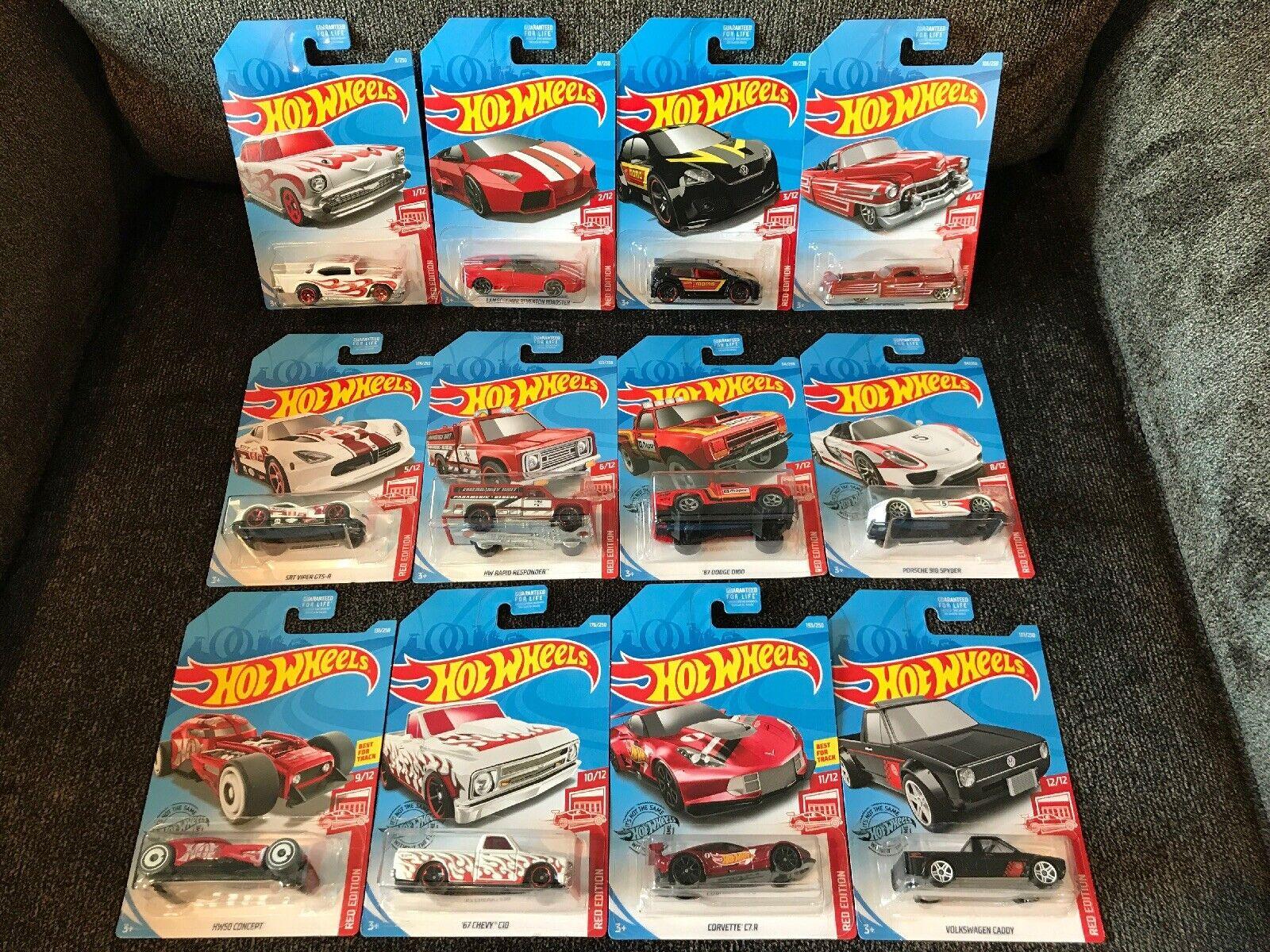 Hot Wheels 2019 Target Red Edition Complete 12 Car Set (Chevy C10, Porsche)