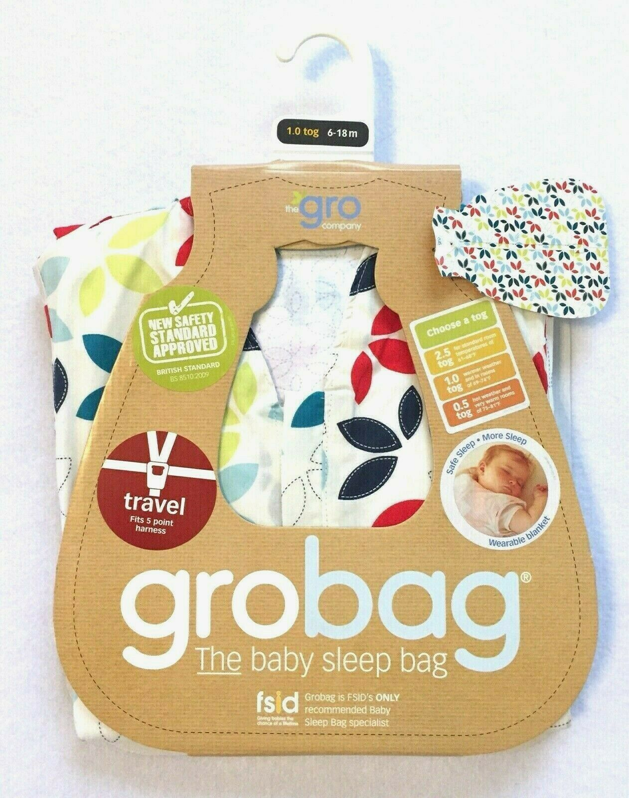 The Gro Company Grobag Nordic Walks Travel Baby Sleeping Bag 6-18 Months 2.5 Tog