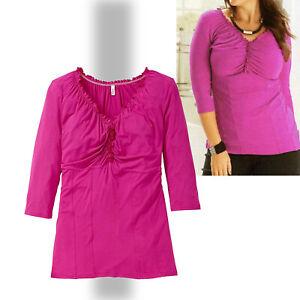 schönes weichfließendes Shirt TUNIKA PINK Gr.46 48 Viscose Stretch Rüschen