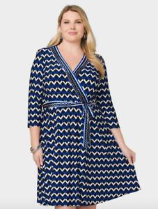 Details about Dress barn Plus size 3X Geometric Knit Faux Wrap Dress  Casual/Work/Versatile
