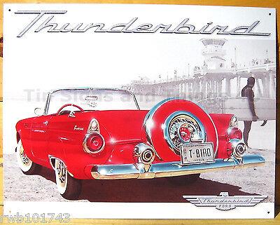 Red Ford Thunderbird TIN SIGN vintage bar garage metal poster wall decor 1271