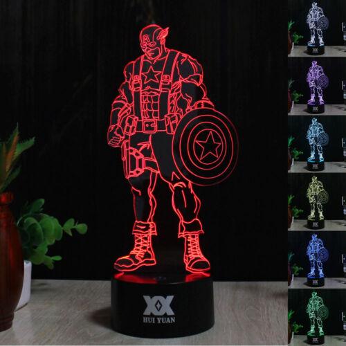 Batman Iron Man Deadpool 3D LED 7 Colour Night Light Desk Table Art Lamp Gift