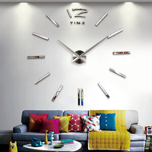 Image Is Loading Home Decor Large Mirror Sticker Wall Clock Modern