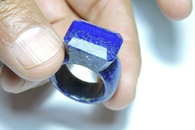 Natural Afghanistan Lapis Lbluei Faceted Hand Made Stunning Gemstone Made Ring