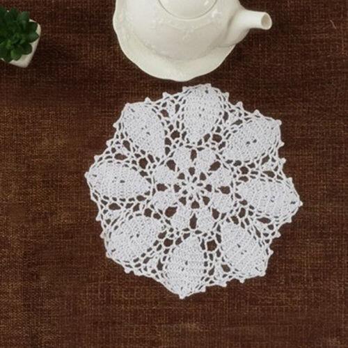 "Set of 4 Round Placemats Dining Table Place Mat Vintage Crochet Lace Doilies 10/"""