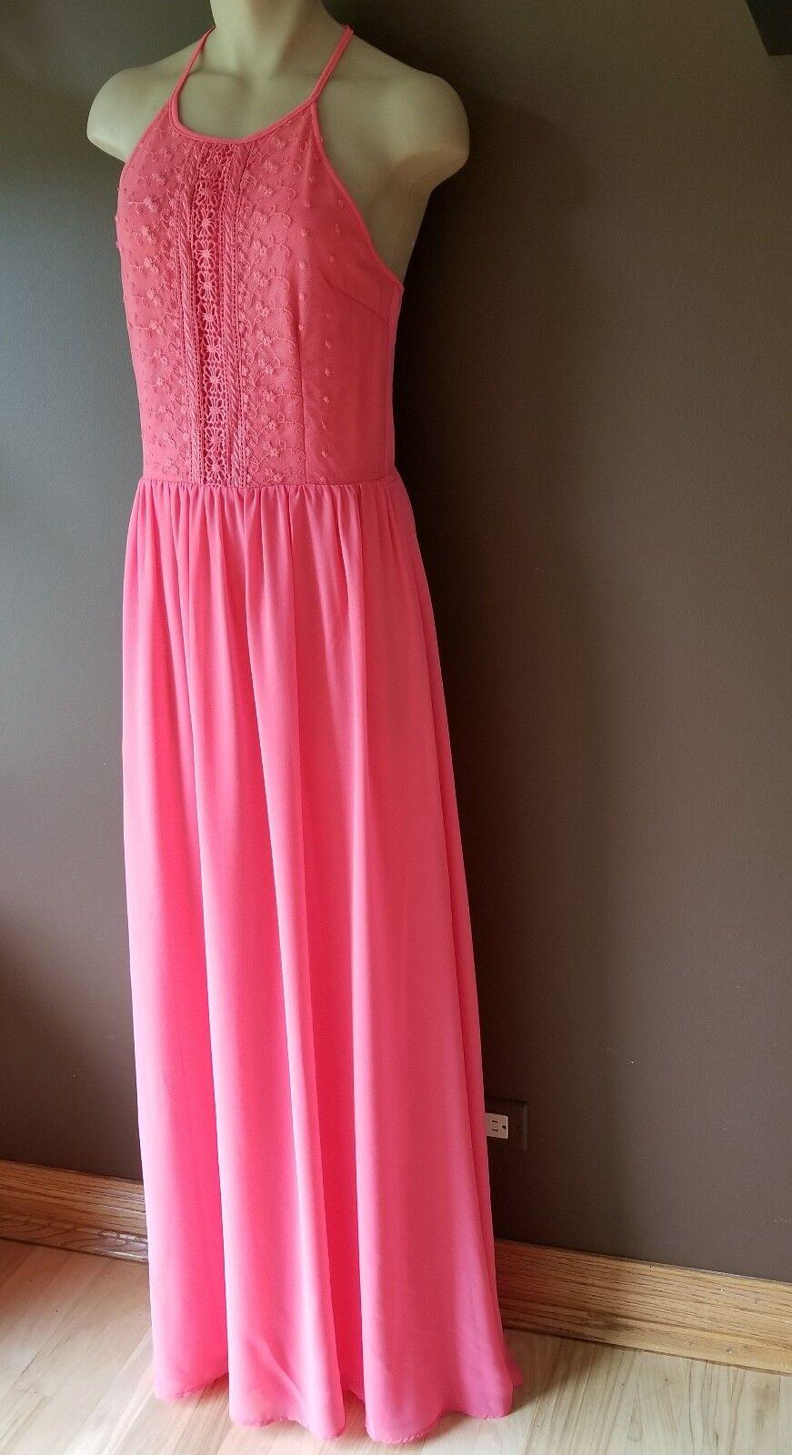 Marineblue maxi pink dress, Sz small
