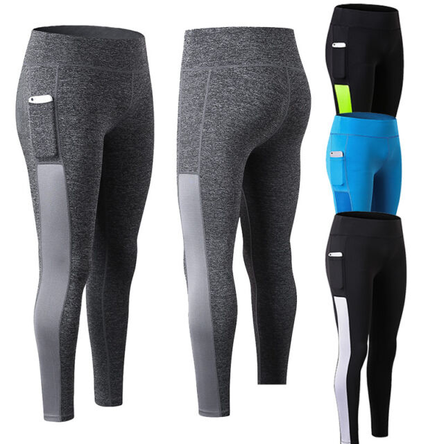 Womens Athletic Running Compression Long Pants with Pocket Gym Tights Quick Dry