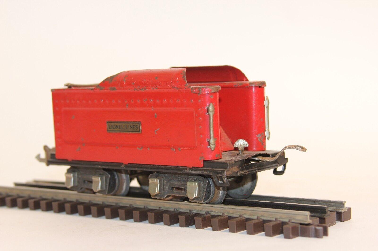 autorización Lionel Pre Guerra 261 T Rojo Rojo Rojo tender líneas Lionel 8 rueda o calibre o escala Plato De Estaño  promociones de equipo