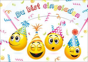 Das Bild Wird Geladen Lustige Smiley Einladungskarten Kindergeburtstag  Geburtstagseinladungen Kinder