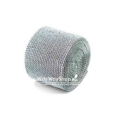 """1 10 yard Diamond Mesh Rhinestone Ribbon Crystal Wrap 4.5"""" 11.5cm Silver"""