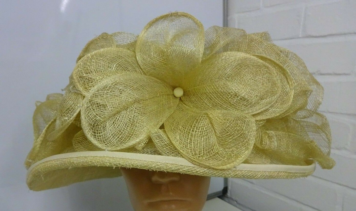 Ex Display Natural Large Flower Round Hat from Mad Hatters - B7