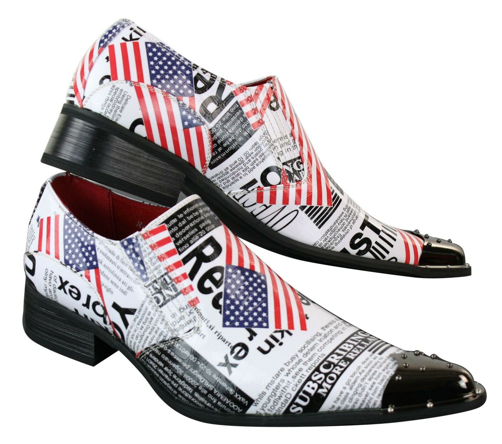 Mens Metal Toe Cowboy Western Pointed US Flag White Fancy Riding shoes Slip On