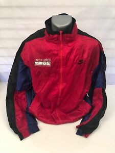 2efc1e39da12 Vintage Nike Gray Tag Full Zip Windbreaker Track Jacket Men s Xl Red ...