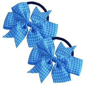 2 x Hair Bobbles Pinwheel Ribbon Bow Gingham Elastic Pony Tail Scrunchies